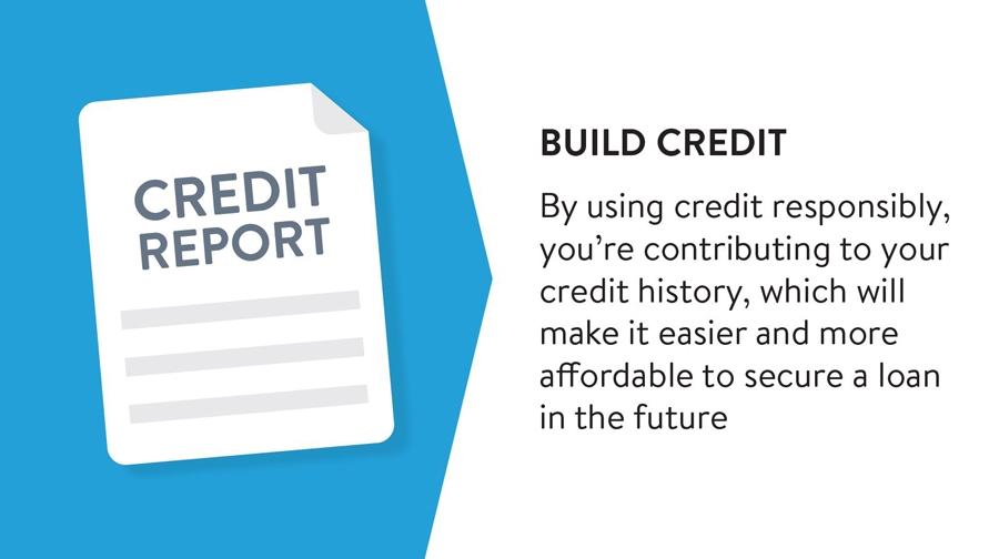 By using credit responsibly, you're contributing to your credit history, which will make it easier and more affordable to secure a loan in the future.