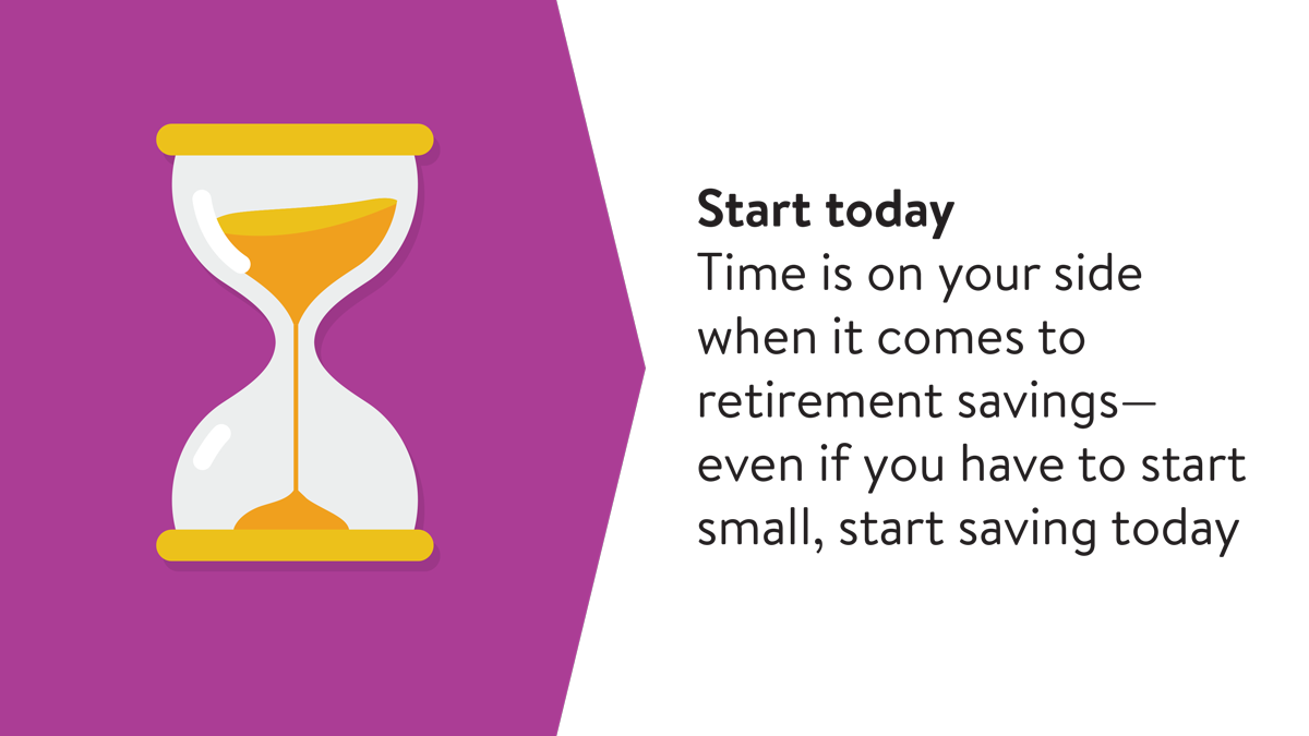 Time is on your side when it comes to retirement saving. Even if you have to start small, start saving today.