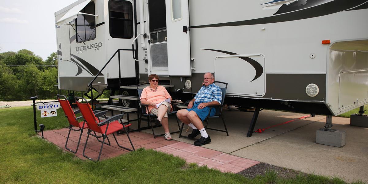 Dupaco members Eunice and Bob Boyd enjoy their RV in Altoona, Iowa.
