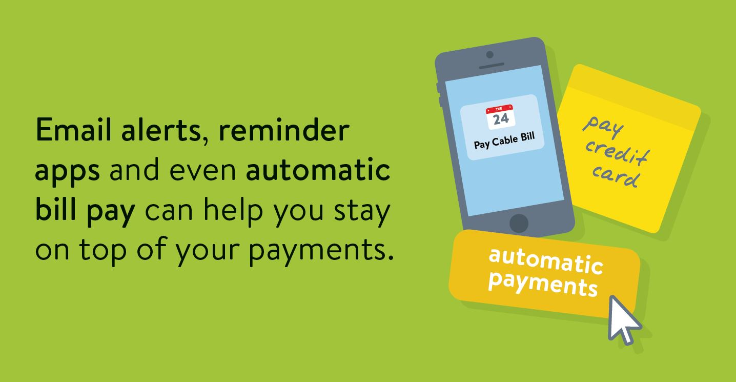 Building credit tip: Email alerts, reminder apps and even automatic bill pay can help you stay on top of your payments.