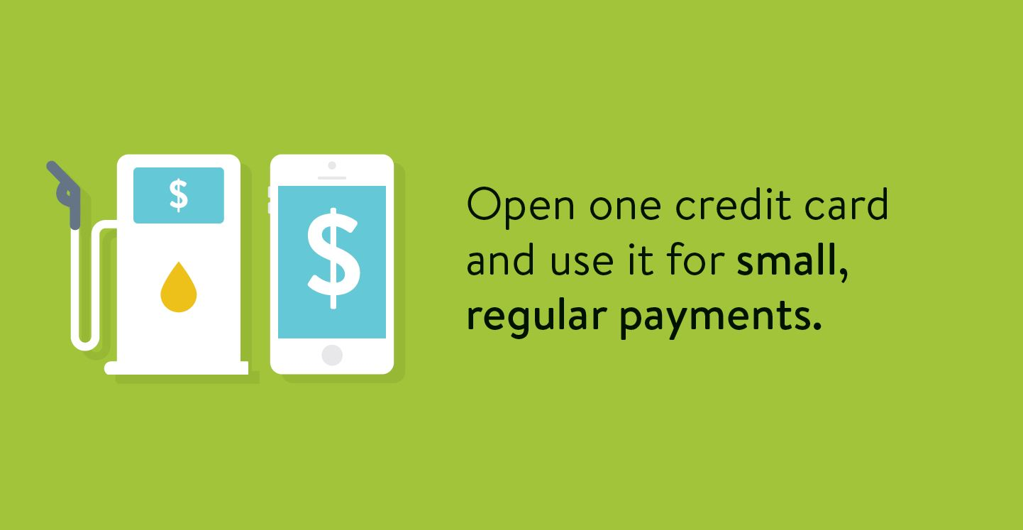 Building credit tip: Open one credit card and use it for small, regular payments.