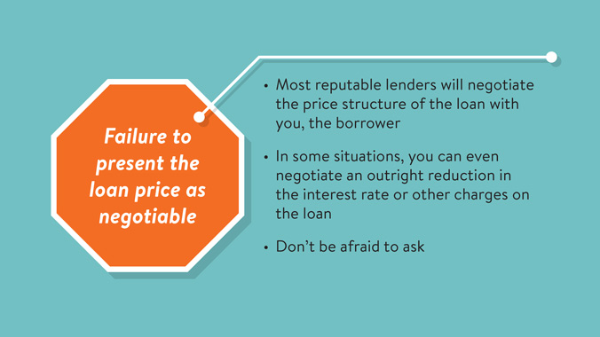Telltale Warning Signs Of Predatory Lending: Failure To Present The Loan Price As Negotiable