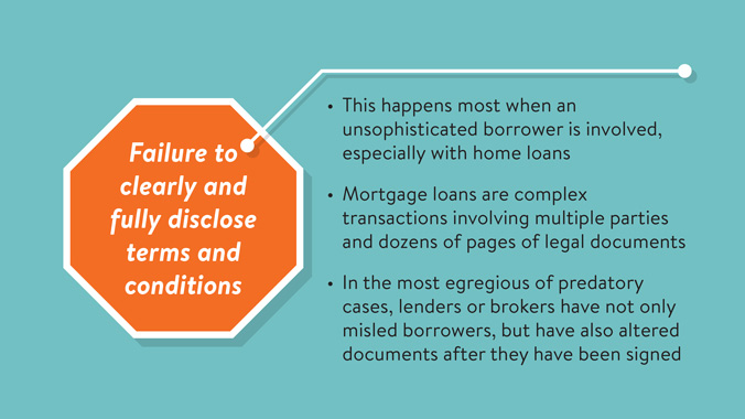 Telltale Warning Signs Of Predatory Lending: Failure To Clearly And Fully Disclose Terms And Conditions