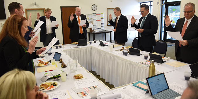 Following The 71st Annual Meeting Of The Membership Sunday At The Peosta (Iowa) Community Centre, The Dupaco Board Of Directors Take Their Annual Oath Of Office.