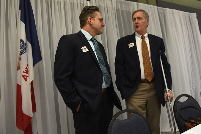 Dupaco Board Member Bob Wethal (left) Chats With Fellow Board Member Stephen Chapman Before The Start Of The 71st Annual Dupaco Meeting Of The Membership On March 1, 2020, At The Peosta Community Centre In Peosta, Iowa.