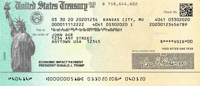 Example Of IRS Stimulus Check: Front Side