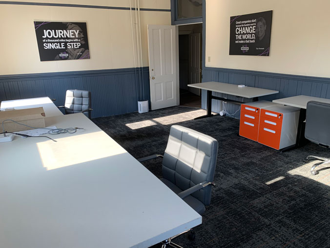 The Innovation Lab's dedicated desk space in Cascade, Iowa.