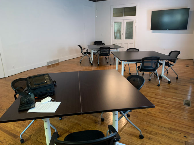 The Innovation Lab's meeting space and conference room.
