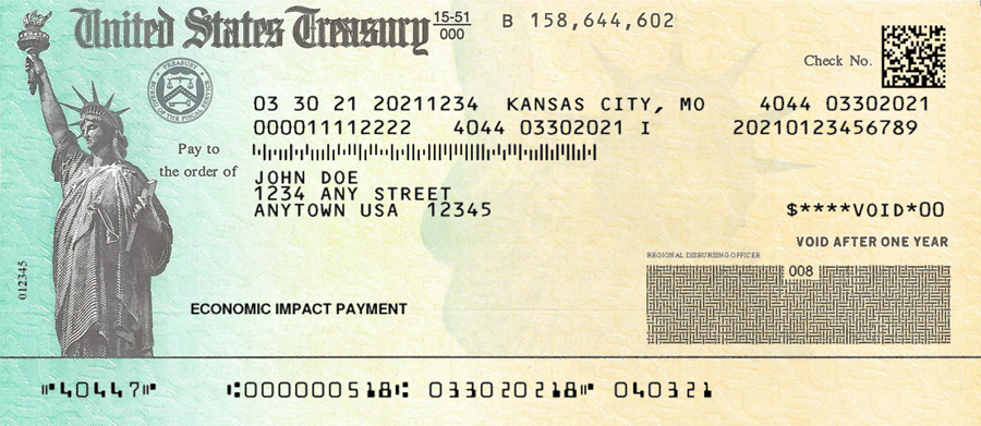 A sample image of the front of an EIP check.