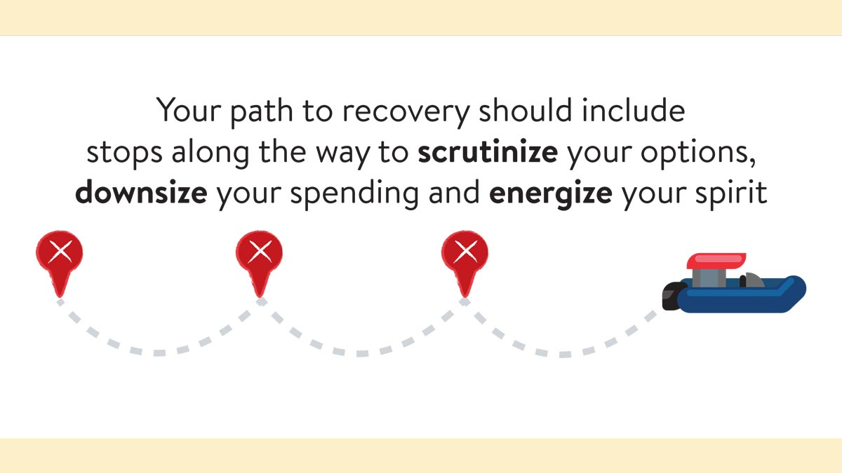 Your Path To Recovery Should Include Stops Along The Way To Scrutinize Your Options, Downsize Your Spending And Energize Your Spirit.