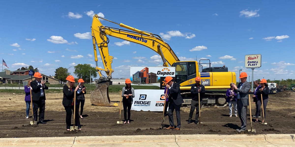 Dupaco Staff And Members From Grow Cedar Valley Kick-off Construction May 12 At The Site Of Dupaco's Newest Full-service Branch Located At 126 Brandilynn Blvd., At The Northeast Corner Of The Intersection Of Viking Road And Highway 58 In Cedar Falls, Iowa. (Grow Cedar Valley Photo)