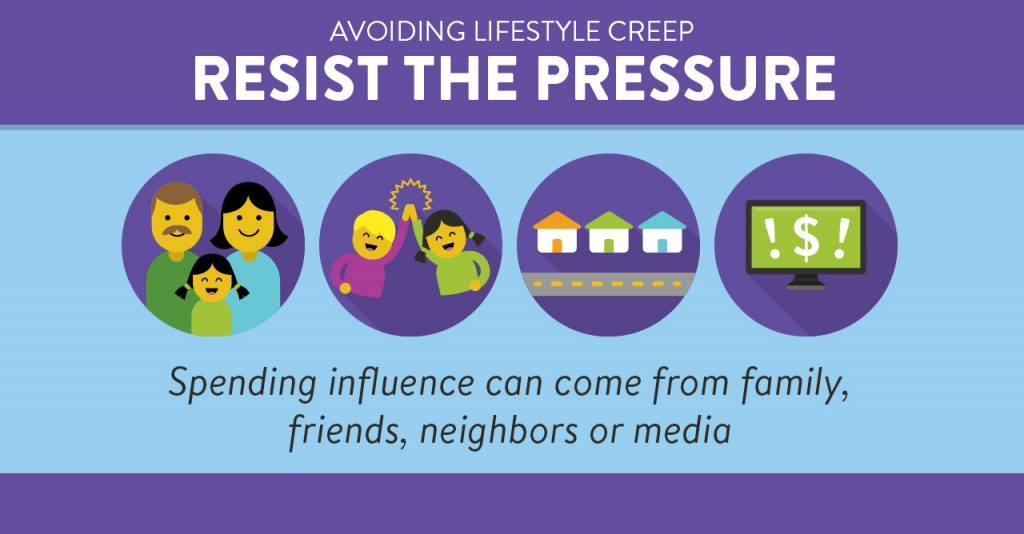 Spending influence can come from family, friends, neighbors or media. Resist the pressure.